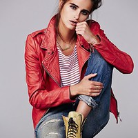 Free People Red Moto Leather Jacket