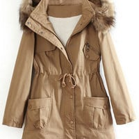 ROMWE | Hooded Self-tied Elastic Buttoned Khaki Coat, The Latest Street Fashion