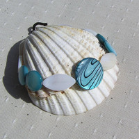 "Turquoise & Ivory Mother of Pearl Bracelet - ""Sea Foam"""