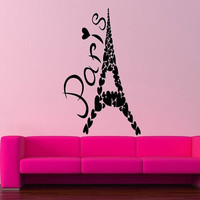 Room Wall Decor Vinyl Sticker Room Decal Art Paris Eiffel Tower Made Of Hearts France Love Romance 893
