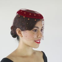 Vintage Red Halo Netted Hat - 1950s Veil Netting Fashion Accessory / Chenille Dotted Fascinator