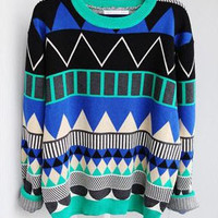 L 080204 Diamond geometric pattern loose pullover-6656