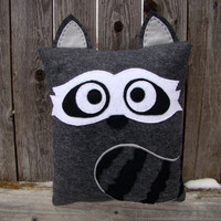 Raccoon plush, decorative pillow, room decor, throw pillow