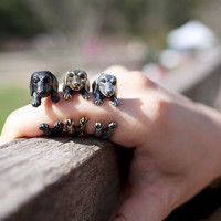 YaciKopo handmade Dachshund dog (sausage dog) ring US size 5 black / silver / golden colour