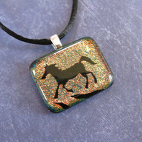 Horse Necklace, Orange Red Dichroic Horse Pendant, Horse Jewelry - Bolt Colt - 4087 -3