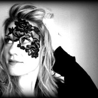 Supermarket: Black Lace Mask - ADHERES TO SKIN - As seen on upcoming America's Next Top Model! from LacedAndWaisted