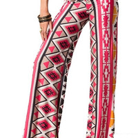 Homegrown Hippie Aztec Palazzo Pants - Red -  $40.00 | Daily Chic Bottoms | International Shipping
