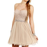 Antonia- GoldSilver Lace Homecoming Dress
