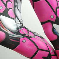 Bionic Leggings - Size XXL Hot Pink - Printed Metal Robot Tights - Armor plate look