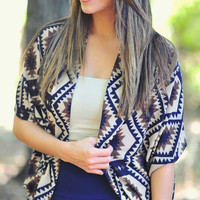 Eye Of The Tiger Cardigan: Navy/Tan | Hope's