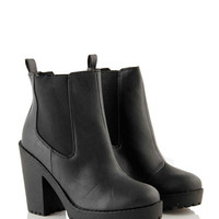 Black PU Grip Sole Chelsea Boot at Fashion Union