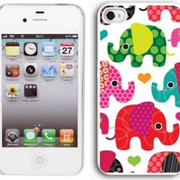 Apple iPhone 4 4S 4G White 4W1 Hard Back Case Cover Colorful Elephants Hearts:Amazon:Cell Phones & Accessories