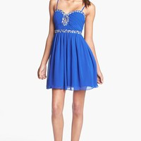 Way-In Front Keyhole Embellished Skater Dress (Juniors) (Online Only) | Nordstrom