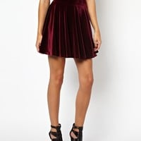 Glamorous Skater Skirt in Velvet at asos.com