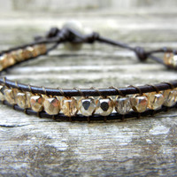 Beaded Leather Single Wrap Stackable Bracelet with Gold or Silver Polished Czech Glass Beads on Brown Leather