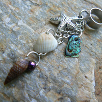 starfish seashell ear cuff  abalone seashells starfish charm in beach boho gypsy hippie belly dancer  beach hipster and fantasy style