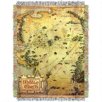 The Hobbit: An Unexpected Journey Map of Middle-earth Woven Tapestry Throw Blanket |