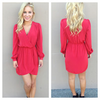 Red Long Sleeve Wrap Dress