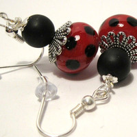Red and Black Polka Dot Glass Bead Dangle Earrings