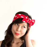 Skinny Bow Tie Headband Red with White Polka Dot