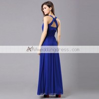 A Line Jewel Empire Ruching Beading Blue Evening Dress [713278] - US$129.00 : AAAweddingdress.com - Free shipping for all