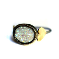 White Drusy Oval Sweetheart Ring in Heavy Cast Bezel