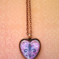 Fleur de lis hot pink splatter glass dome heart necklace for tween or teen girl