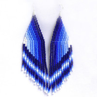 Long Earrings. Native American Beaded Earrings Inspired. White and Blue Earrings. Beadwork.