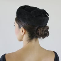 Vintage Faux Fur Pillbox Hat -  Round Classic 1960s Black Austrian Fashion Accessory / Back Bow