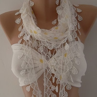 Shabby Chic Tulle Scarf - Perfect  Accesory - Like a jewelry -White