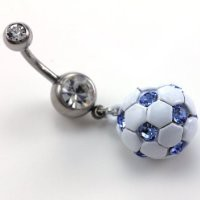 Light Blue Soccer Ball Dangle Banana Belly Barbell Button Navel Rings Body Fashion Jewelry Surgical Steel 316L 14 Gauge