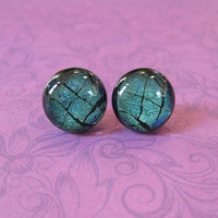 Dichroic Green Earrings, Hypoallergenic Earrings, Fused Glass Jewelry, Fashion Jewelry - Witzel - 1918
