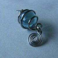Blue Glass Ball Spiral Earrings | PurplePup - Jewelry on ArtFire