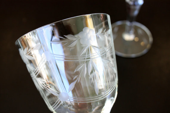 pair of etched fine crystal fluted wine from umbrellafant