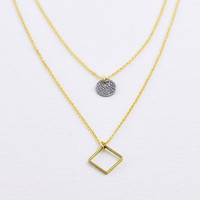 Diamond and dot - brass diamond and antique silver double layered gold necklace - delicate geo jewelry