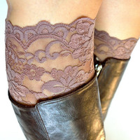 Mocha Brown floral Lace Boot Cuff Accessories