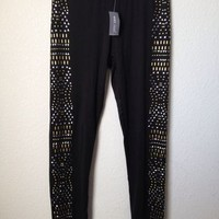 Wet Seal Black Silver & Gold Mix Stud Legging Size L