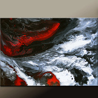 Abstract Canvas Art Painting 36x24 Original Red Black White Contemporary Paintings by Destiny Womack - dWo - Redemption