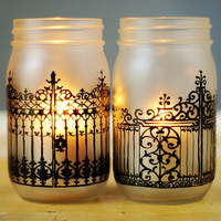 Set of Two Spooky Mason Jars, Halloween Decor Candle Holders