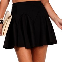 Black Pleated Skater Skirt