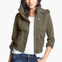 Thread & Supply Hooded Twill Bomber Jacket (Juniors) (Online Only) | Nordstrom