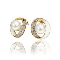 18K Gold Plated Earrings Enamel Crystal Circle Pearl Stud Earrings Health Jewelry Nickel Free