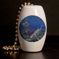 Dolphin Reef Porcelain Fan / Light Pull