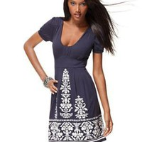 INC International Concepts Dress, Short Sleeve Scoopneck Border Print - Dresses - Women's - Macy's