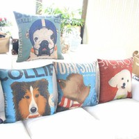 "MagicPieces Cotton and Flax My Cute Dog C Decorative Pillow Cover Case 18"" x 18"" Square Shape-dogs-pet-cute-animal lover-men's best firend"