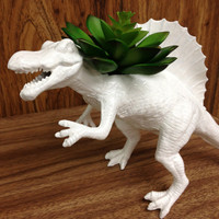 Up-cycled Large Sized White Spinosaurus Dinosaur Planter