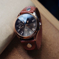 Men Watch Leather Wrist Watch