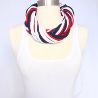 Cleveland Indians T-shirt Infinity Scarf - Red, White and Navy Mix