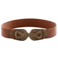 Boldly Buckled Belt in Cognac