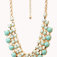 FOREVER 21 Opulent Layered Bib Necklace Mint/Gold One